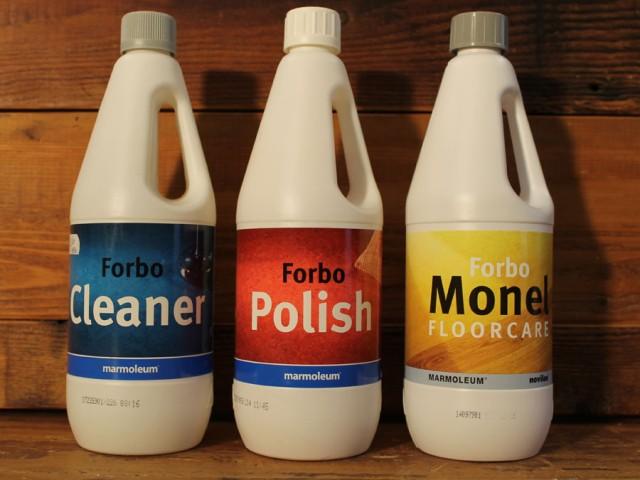 Forbo onderhoudsmiddelen voor vinyl en marmoleum: Cleaner 6,50 per ltr., Polish 12,30 per ltr., Monel 8,65 per ltr.