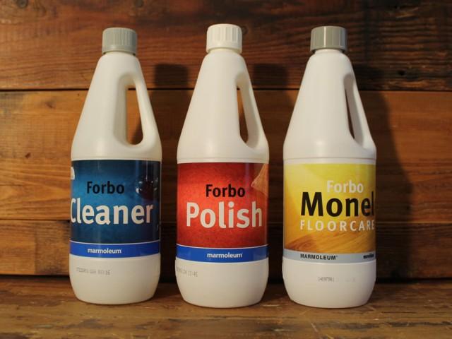 Forbo onderhoudsmiddelen voor vinyl en marmoleum: Cleaner 6,50 per ltr. Polish € 12,30 per ltr. Monel € 8,65 Monel gratis geleverd bij uw  bestelling van  marmoleum of vinyl.